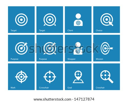 Target icons on blue background. Vector illustration. - stock vector