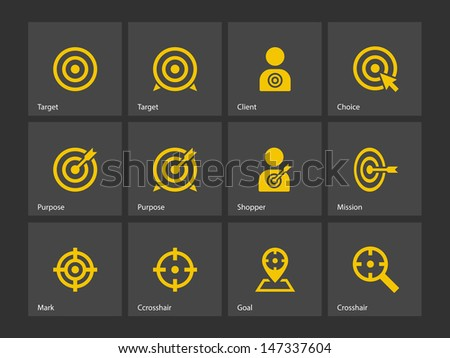 Target icons on gray background. Vector illustration. - stock vector