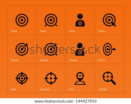 Target icons on orange background. Vector illustration. - stock vector
