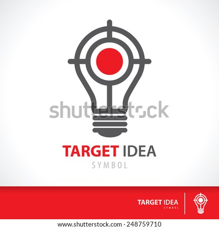 Target idea symbol icon. Hit the inspiration concept. Vector illustration. Logo template design - stock vector