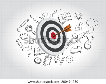 Target Illustration with doodle - stock vector