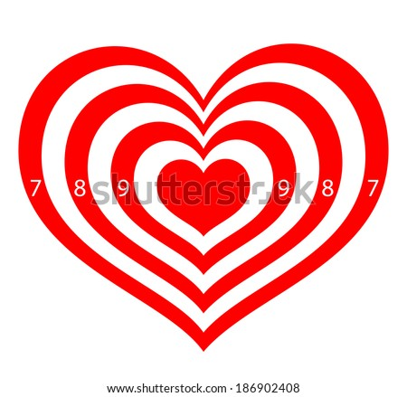 target in the form of red hearts - stock vector