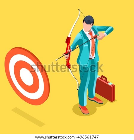 Target Job Now Hiring concept. HR role & ambition. Isometric Winner Man Win. Businessman hunting business success applicant candidate research infographic. Businessperson 3D character ambitious banker