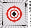 Target practice symbol with target and flying bullets on striped background - stock photo