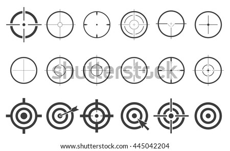 Target set icons sight sniper symbol isolated on a white background, crosshair and aim vector illustration stylish for web design EPS10 - stock vector