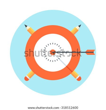Target, success theme, flat style, colorful, vector icon set for info graphics, websites, mobile and print media. - stock vector