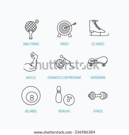 Target, table tennis and fitness sport icons. Skateboard, muscle and bowling linear signs. Ice skates, billiards and gymnastics icons. Linear set icons on white background. - stock vector