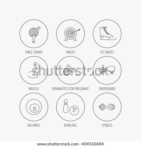 Target, table tennis and fitness sport icons. Skateboard, muscle and bowling linear signs. Ice skates, billiards and gymnastics icons. Linear colored in circle edge icons. - stock vector