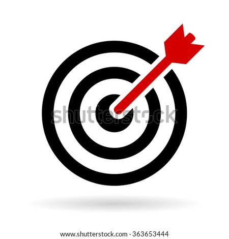 Target vector icon illustration isolated on white background - stock vector