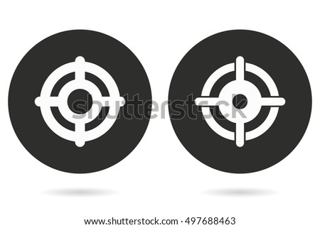 Target vector icon. White illustration isolated on black background for graphic and web design.
