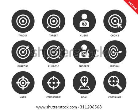 Target vector icons set. Aim and goal concept. Icons for banners and  advertising, target, choice, purpose, mission, mark, crosshair. Isolated on white background - stock vector