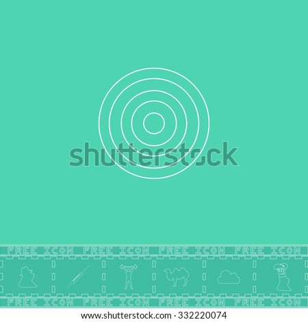 Target. White outline flat symbol and bonus icon. Simple vector illustration pictogram on green background