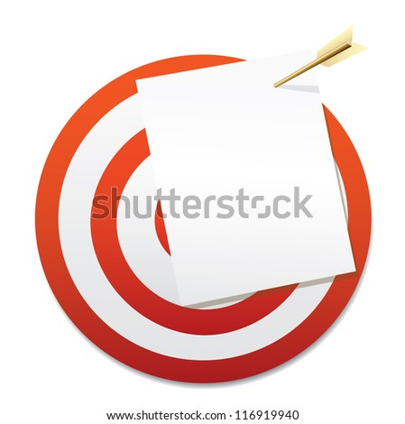 Target with a blank sheet of paper and gold arrow. Vector - stock vector