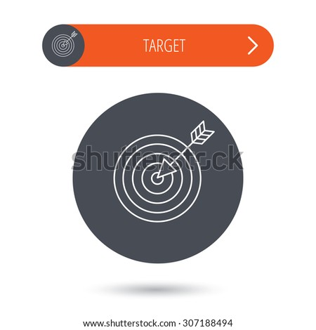 Target with arrow icon. Dart aim sign. Gray flat circle button. Orange button with arrow. Vector - stock vector