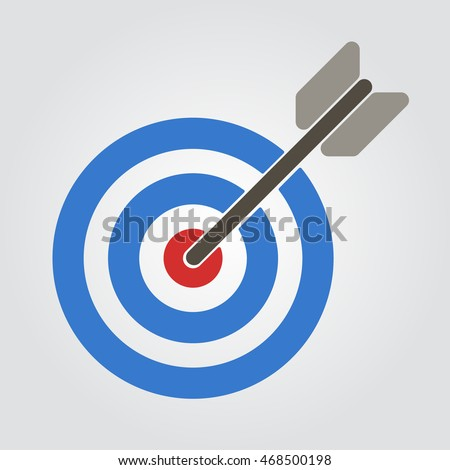 Target with arrow in center. Flat icon target vector stock illustration