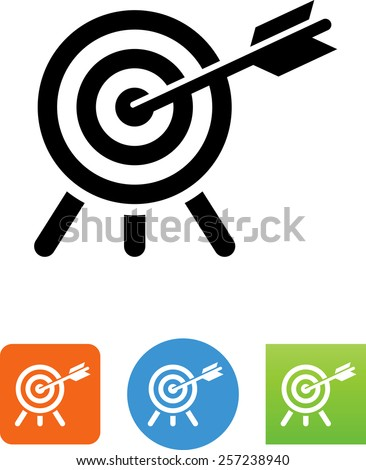 Target with arrow in the bullseye. Vector icons for video, mobile apps, Web sites and print projects. - stock vector