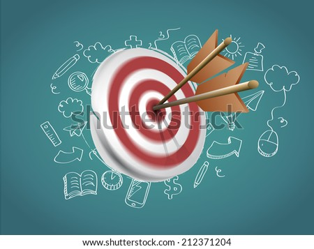 Target with arrows and doodle - stock vector