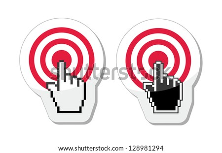 Target with cursor hand vector icon - stock vector
