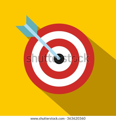 Target with dart flat icon on orange background - stock vector