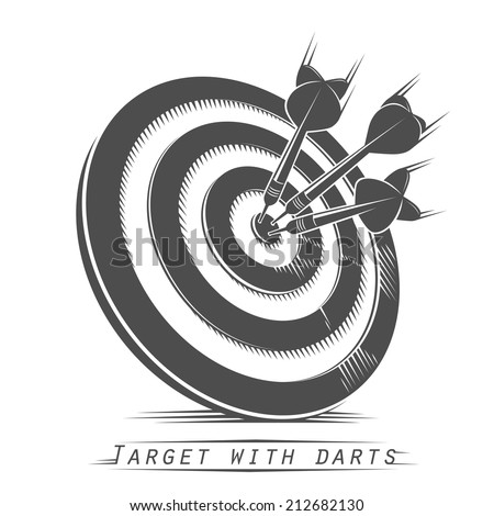 Target with darts vintage tattoo. Vector illustration - stock vector