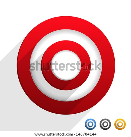 Target with flat diagonal shadows, vector eps10 illustration - stock vector