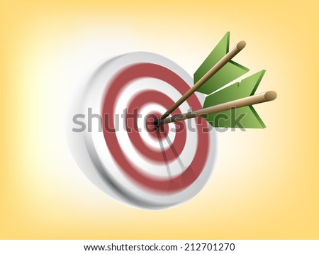Target with green arrows  - stock vector