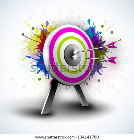 Target with hitting darts on grungy colorful background. EPS 10. - stock vector