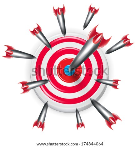 target with multiple arrows aiming on the center isolated on white - stock vector