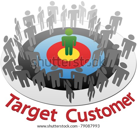 Targeted Marketing to find and choose the best customer in a group of people - stock vector