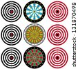 Targets Set. Collection set of Paper Target, Archery Target, Darts board on white background. - stock vector