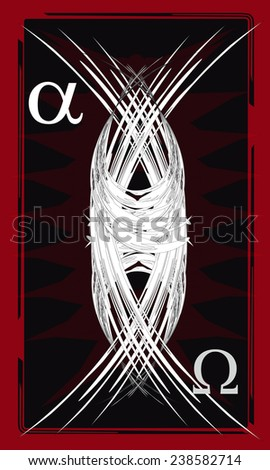 Tarot cards - back design. Alpha and Omega  - stock vector