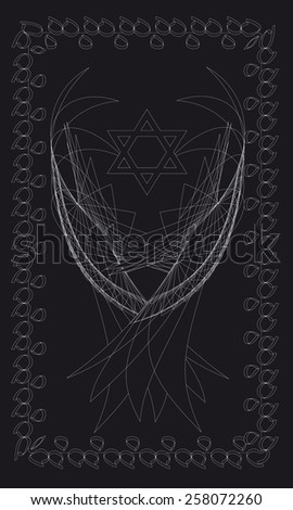 Tarot cards - back design, Hexagram, Yijing, yin - yang - stock vector