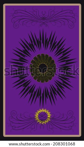 Tarot cards - back design, the all-seeing eye - stock vector