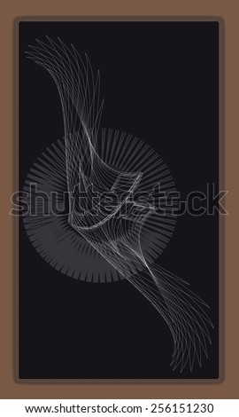 Tarot cards - back design, Winged disc, mythological symbol - stock vector