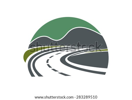 Tarred highway or road and sky disappearing into the distance near mountains - stock vector
