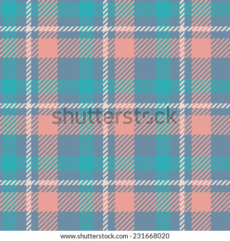Tartan pattern. gentle colors of red, blue, white. Suitable for decoration of children's clothes. - stock vector