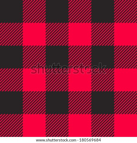 Tartan pattern. Scottish traditional fabric seamless vector. Black  stripes on red background.   Frequent repetition of squares. - stock vector