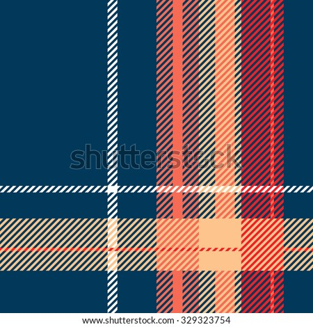 Tartan pattern. Scottish traditional fabric seamless vector. Colorful blue, red, orange, white. Suitable for children, decoration paper, home, design, concept, clothing, handicraft & scrap booking. - stock vector