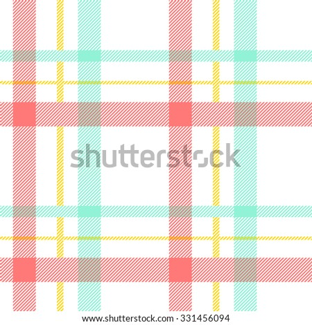 Tartan pattern. Scottish traditional fabric seamless vector. Colorful green, red, yellow and white. Suitable for children, decoration, home, design, concept, clothing, handicraft & scrap booking. - stock vector