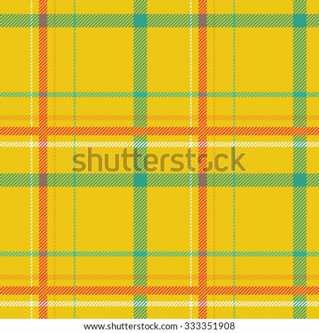 Tartan pattern. Scottish traditional fabric seamless vector. Colorful green, red, yellow. Suitable for children, decoration, home, design, concept, clothing, handicraft & scrap booking. - stock vector