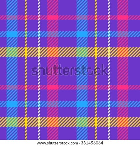 Tartan pattern. Scottish traditional fabric seamless vector. Colorful red, blue, yellow and purple. Suitable for children, decoration, home, design, concept, clothing, handicraft & scrap booking. - stock vector