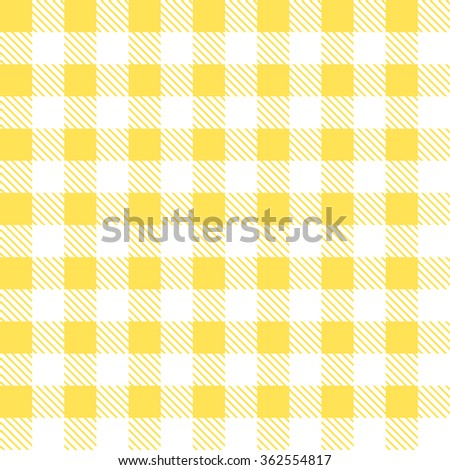 Kitchen Yellow Checkered Tablecloth Fabric Background.