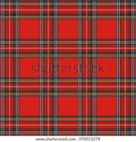 Tartan Plaid Vector Pattern Background with Fabric Texture - stock vector