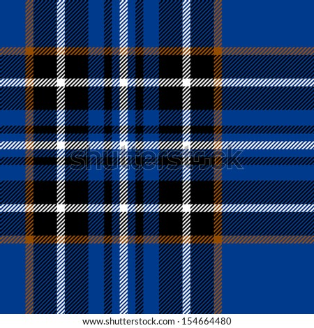 Tartan traditional checkered british fabric seamless pattern, blue and black, vector - stock vector