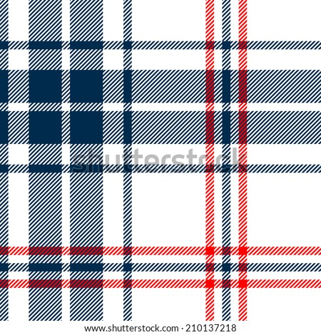 Tartan traditional checkered british fabric seamless pattern, white and blue, vector - stock vector