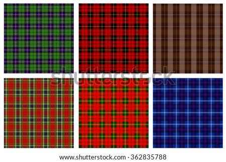 Tartan vector set. Plaid patterns - stock vector