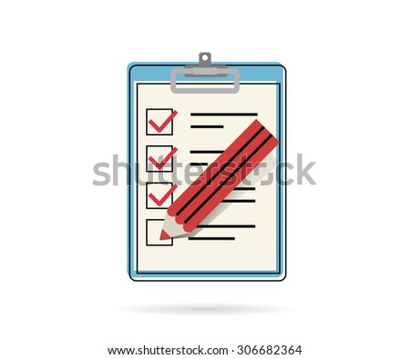 Task list flat contour icon with red pencil isolated on white - stock vector
