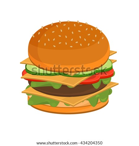 Tasty and appetizing hamburger cheeseburger and vector cheeseburger fast food. Tasty cheeseburger delicious and cheeseburger sandwich. Barbecue cheeseburger grilled food. Bbq grilled food. Fast food. - stock vector