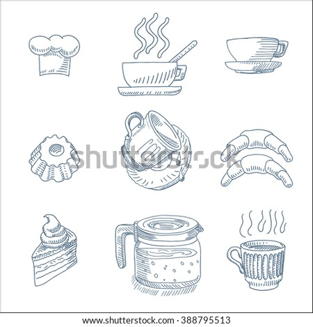 Tasty bakery, beverage and pastry with coffee mug, tea cup and  cake icons set, in sketch drawing style, for cafe and restaurant menu design