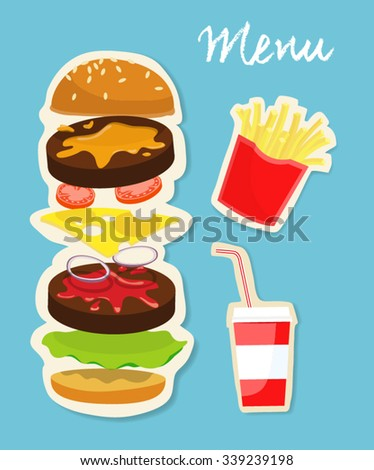 tasty burger with isolated components , french fries and drink illustration with light blue background and handwriting menu sign